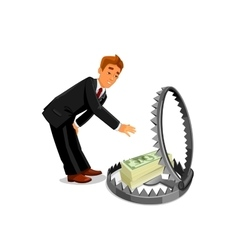 Businessman taking money from trap vector image