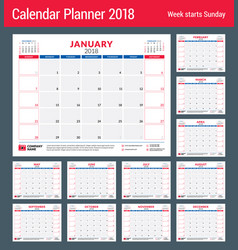 calendar planner for 2018 year design print vector image