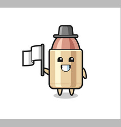 Cartoon character bullet holding a flag vector