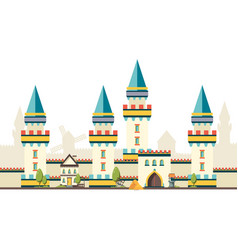 Castle with towers horizontal brick wall from vector