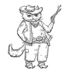 cat cowboy holding a revolver and dressed in a hat vector image