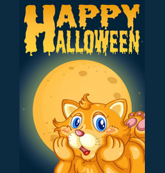 cat on halloween card template vector image