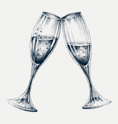 Champagne glasses isolated new year party vector
