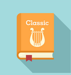 Classic literary book icon flat style vector