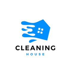 cleaning house wash water splash service logo icon vector image