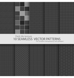Collection of black tile textures Seamless vector