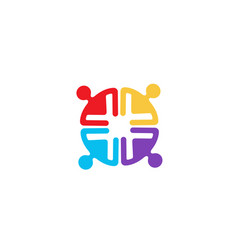 Colorful people group team logo vector