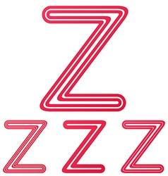 Crimson line z logo design set vector