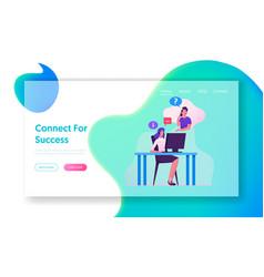 customer hotline support service website landing vector image