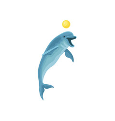 cute funny blue dolphin performing trick with ball vector image