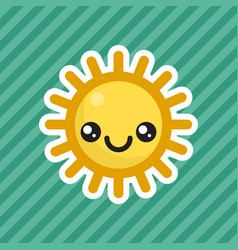 cute kawaii smiling sun cartoon icon vector image