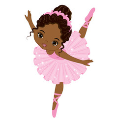 Cute little african american ballerina vector