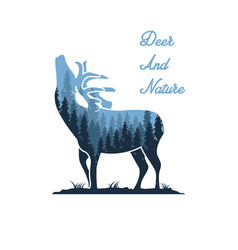 deer and nature designs vector image