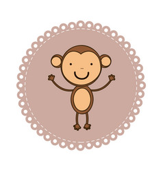 Emblem with monkey inside icon vector