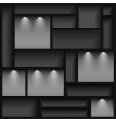 Empty shelves illuminated with reflector ligh vector image