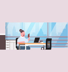 fat obese woman manager using laptop eating vector image