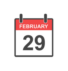 February 29 calendar icon leap day in flat style vector