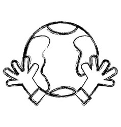 Figure earth planet with hands and peace symbol vector