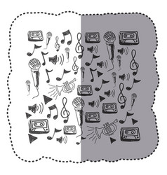 Figure instruments music notes background icon vector