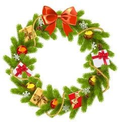 Fir Wreath with Red Bow vector image