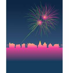fireworks town vector image
