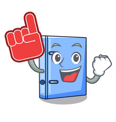 Foam finger office binder file isolated on cartoon vector