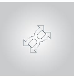fourfold Arrow - icon isolated vector image
