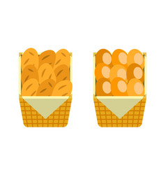 fresh buns wooden basket bakery shop bread vector image