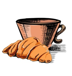 Fresh croissant and cup vector