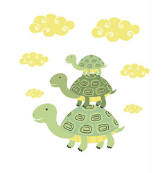 funny cartoon turtle print vector image