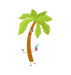 funny tropical palm tree character holding a vector image