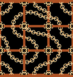 golden chains and belts seamless pattern baroque vector image