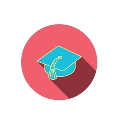 Graduation cap icon Diploma ceremony sign vector image