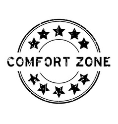 Grunge black comfort zone word with star icon vector