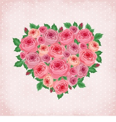 Heart of roses on vintage background vector image