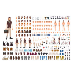 Hipster guy construction set bearded man dressed vector