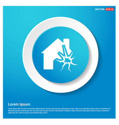 house on fire icon abstract blue web sticker vector image