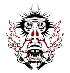 Image an monkey executed in form of vector