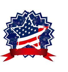 independence day emblem with stars and stripes vector image