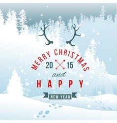 landscape with Christmas type design vector image