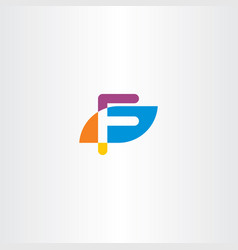 letter f icon logo logotype colorful symbol vector image