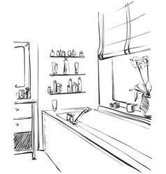 Linear sketch of an interior part of the bathroom vector