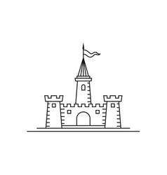 minimalist line art castle logo design inspiration vector image