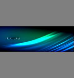 neon glowing fluid wave lines magic energy space vector image