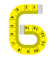 number six ruler icon cartoon style vector image
