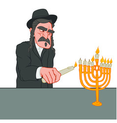 Old jewish man with the mustache lights the vector