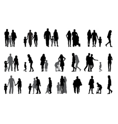 Parents and children with pram silhouette vector