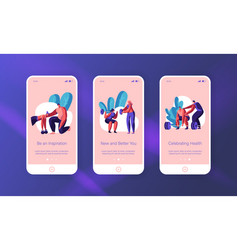 People training exercise in gym mobile app page vector