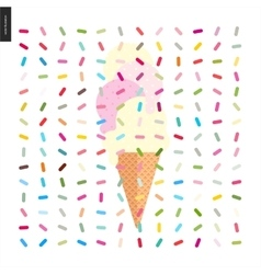 Pink and vanilla Ice cream in a cone with pattern vector