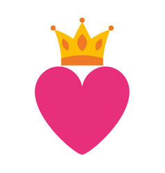 Pink heart love crown romantic passion icon vector